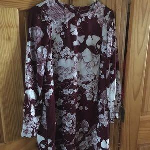 New Deep Port  Floral BCBG MaxAzria LS Dress XXS